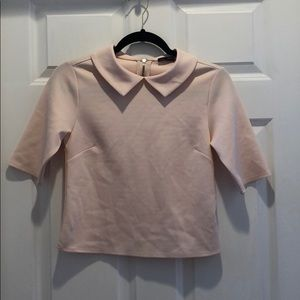 Zara light pink top with collar - size S